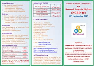 National Conference on Research Issues in BigData (NCBD 2015) - Rathinam College of Arts and Science