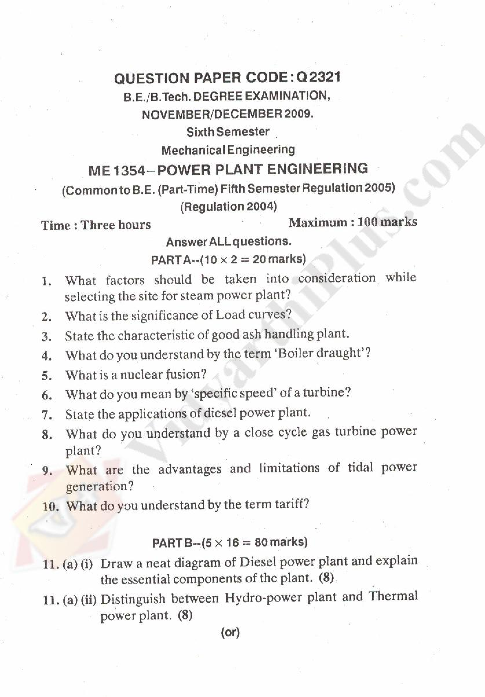Power Plant Engineering Solved Question Papers 2015 Edition