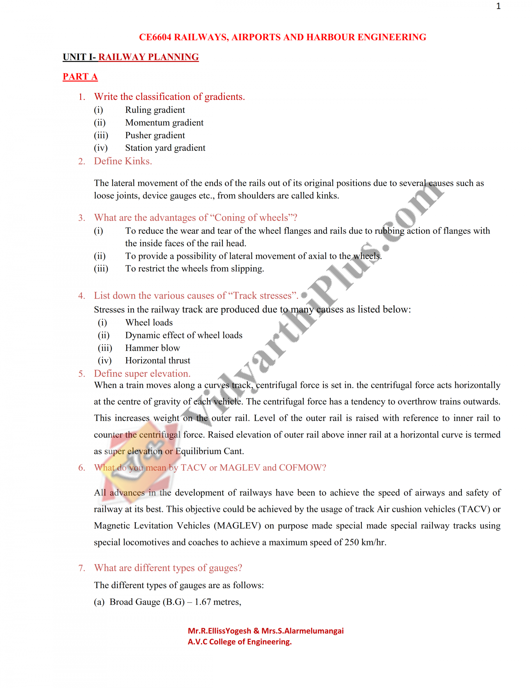 Railways Airports And Harbour Engineering Hand Written