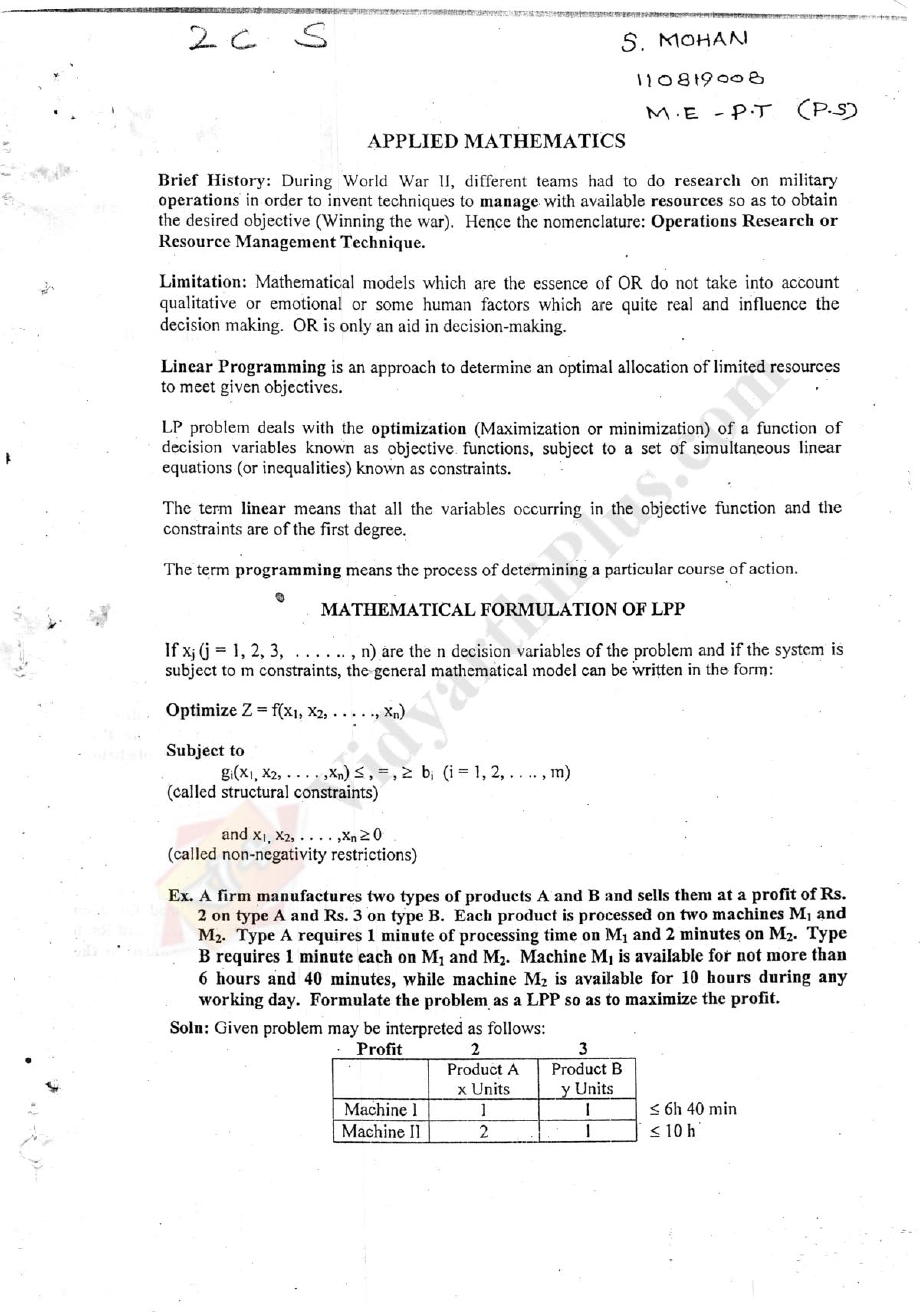 Applied Mathematics Premium Lecture Notes - Mohan Edition