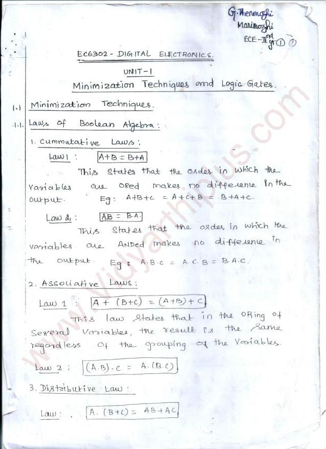 Digital Electronics Premium Lecture Notes - All Units - Thenmozhi Edition