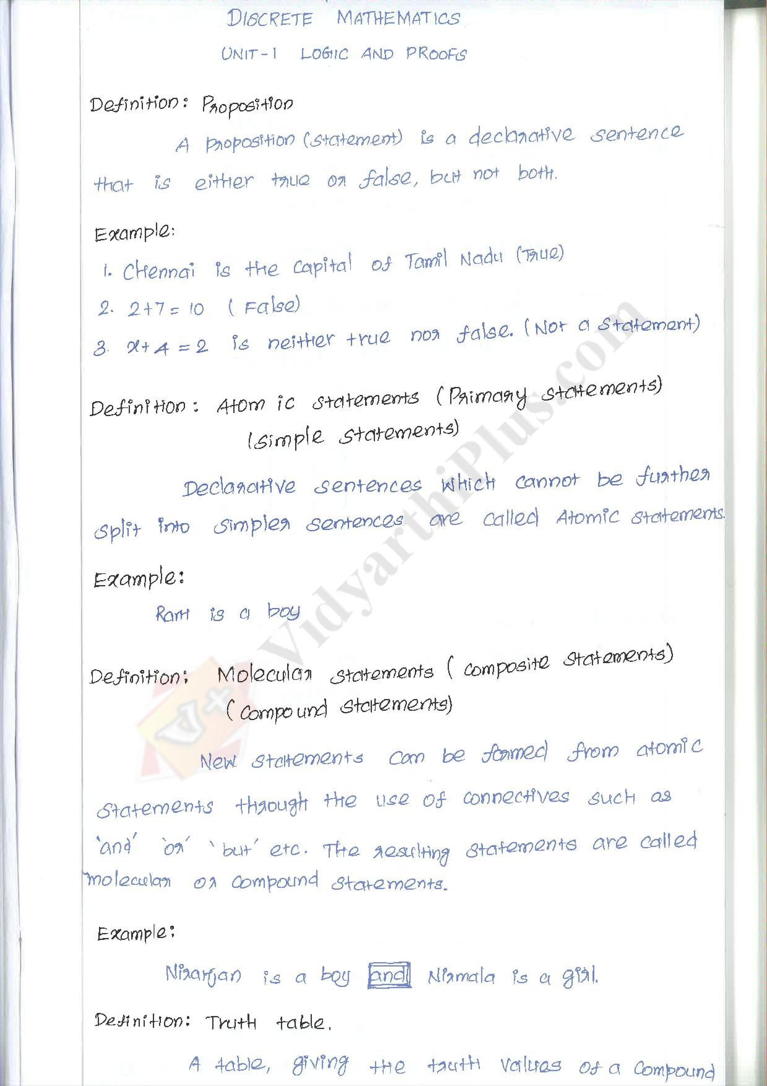 Discrete Mathematics Premium Lecture Notes (All Units) - Deepthi Edition
