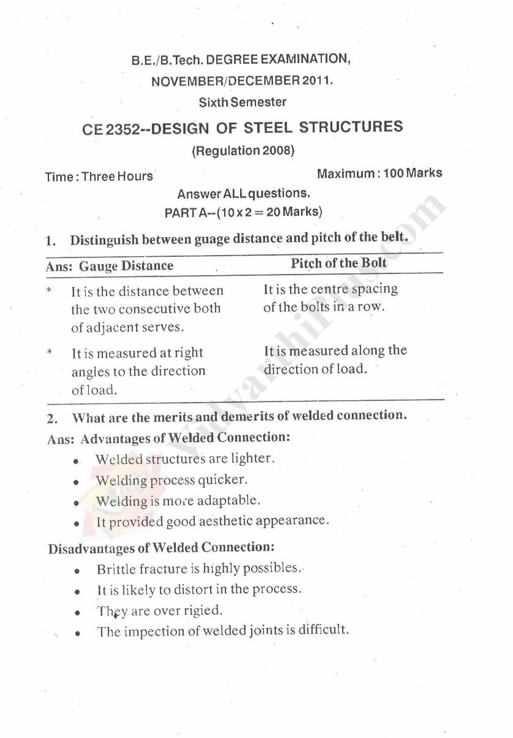 Design Of Steel Structure Solved Question Papers - 2015 Edition