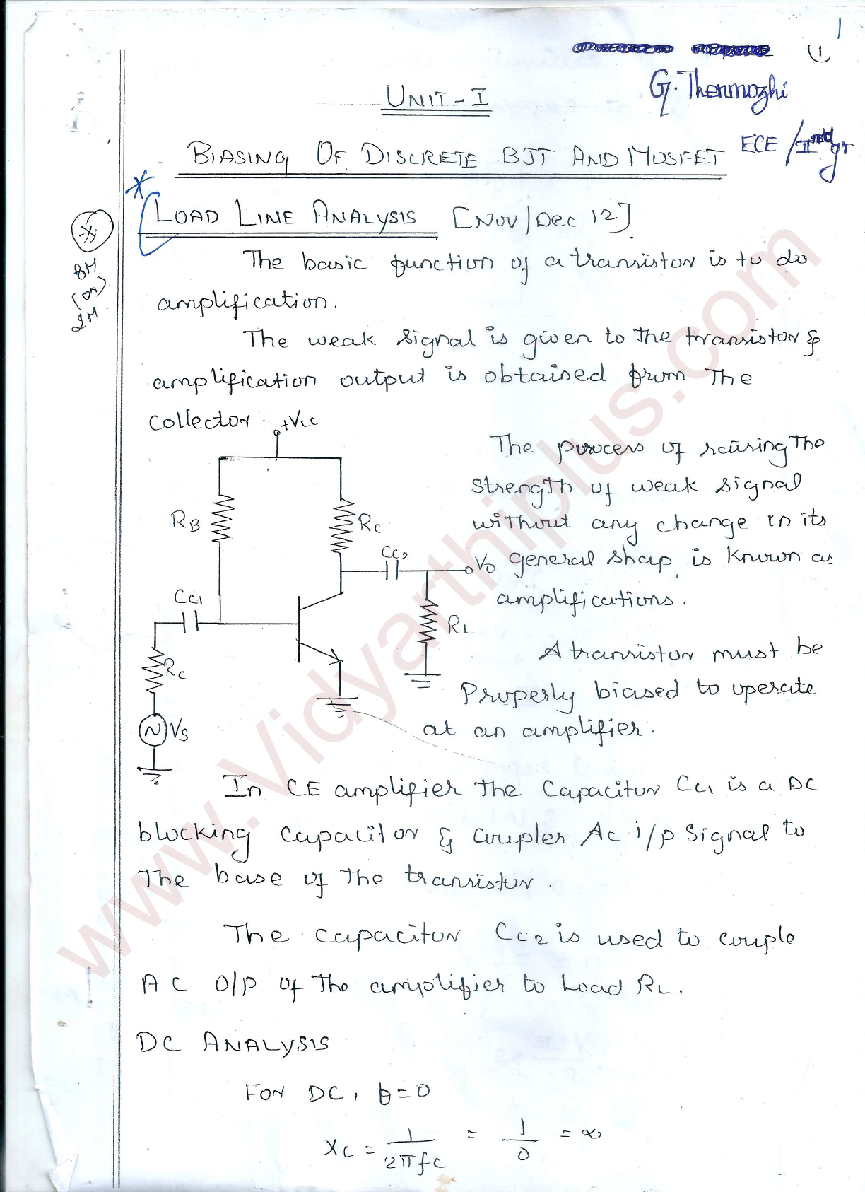 Electronic Circuits I Premium Lecture Notes - Thenmozhi Edition