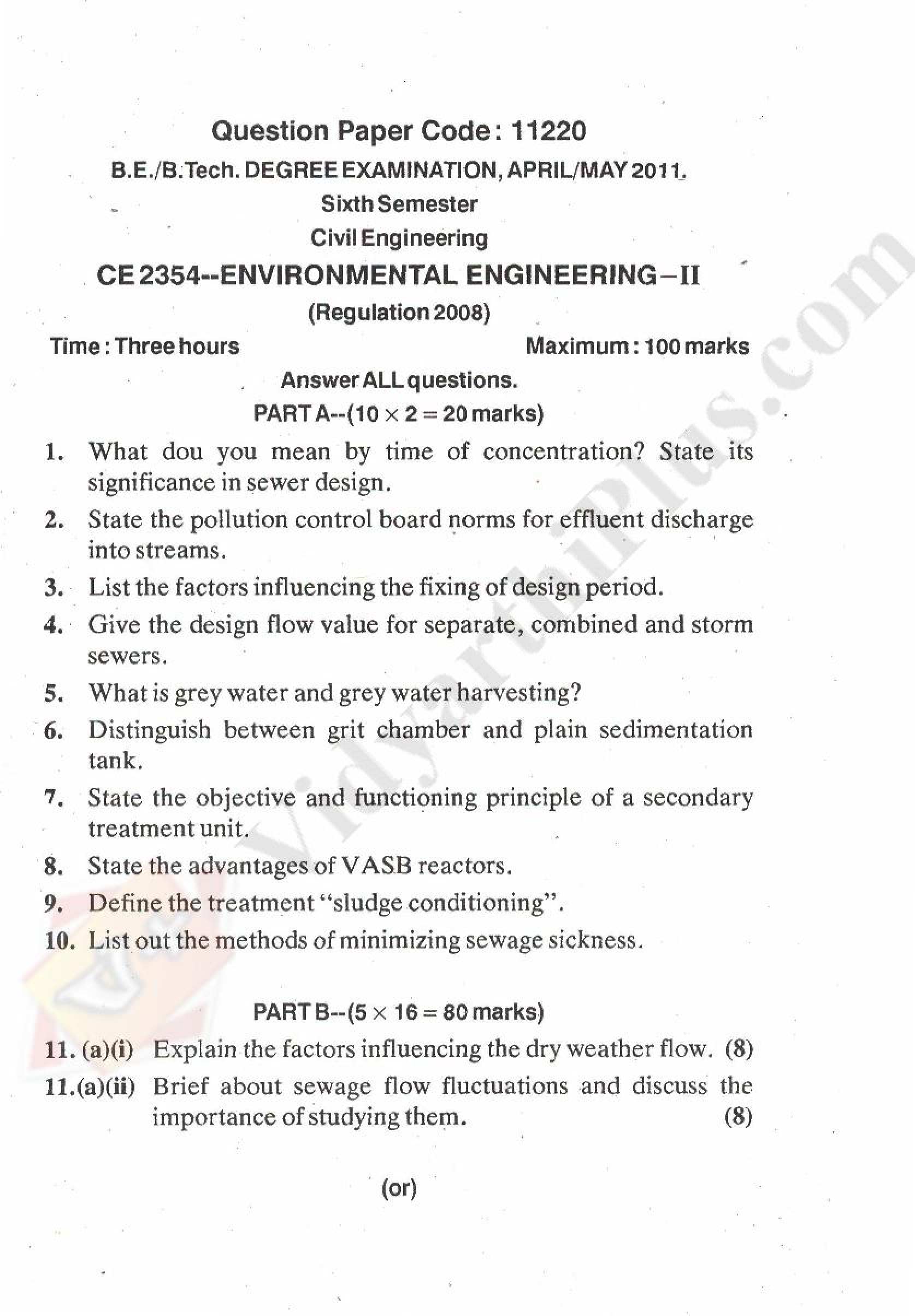 Environmental Engineering - II Solved Question Papers - 2015 Edition