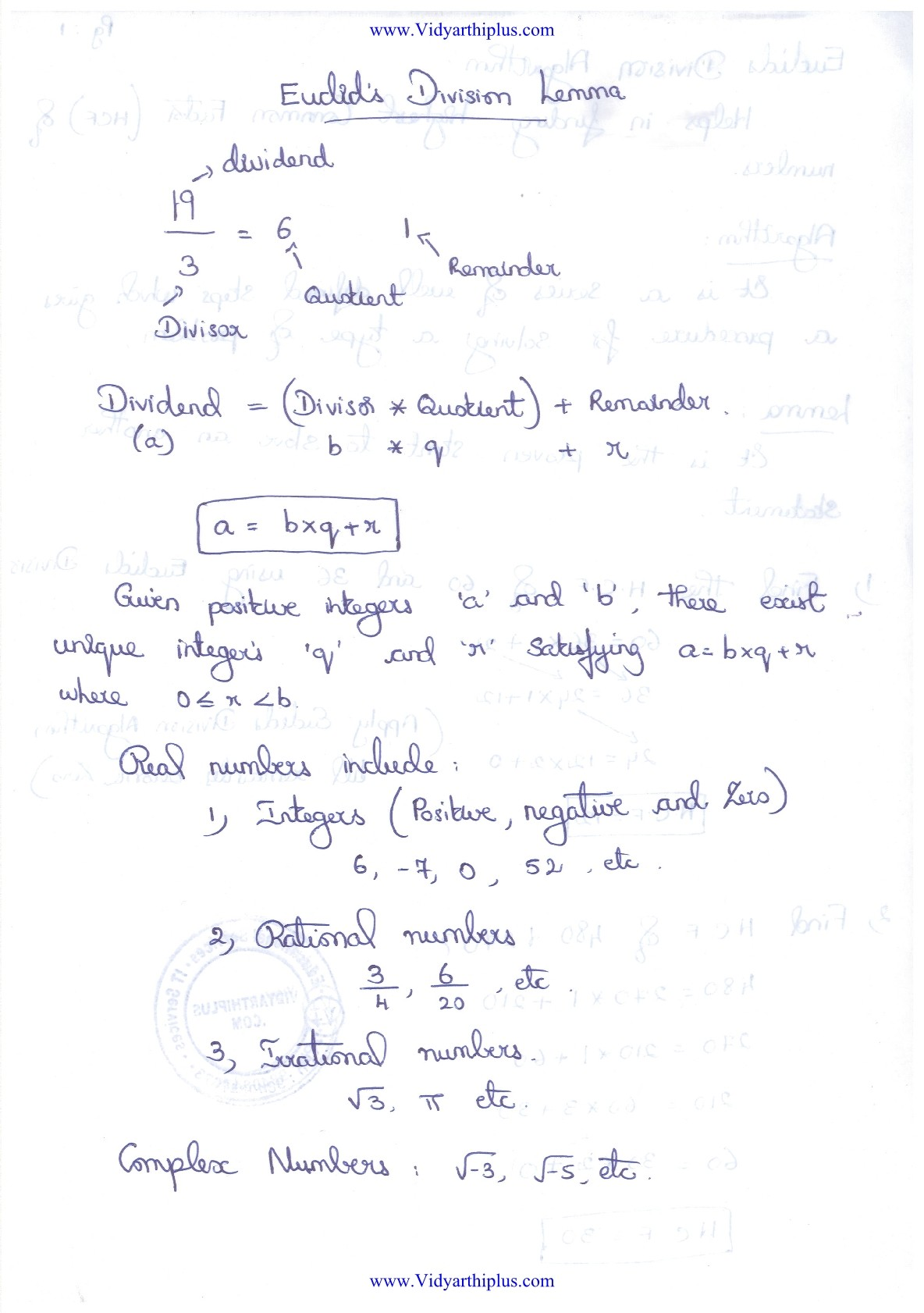 Number Systems : Euclid's division lemma Lecture Notes and Solved Problems