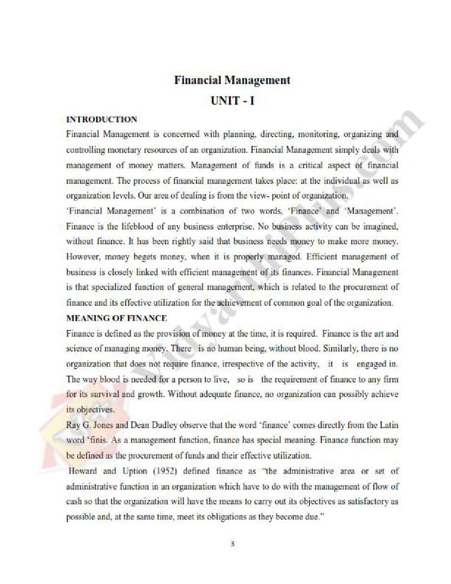 Financial Management Premium Lecture Notes (All Units) - Vidhya Edition