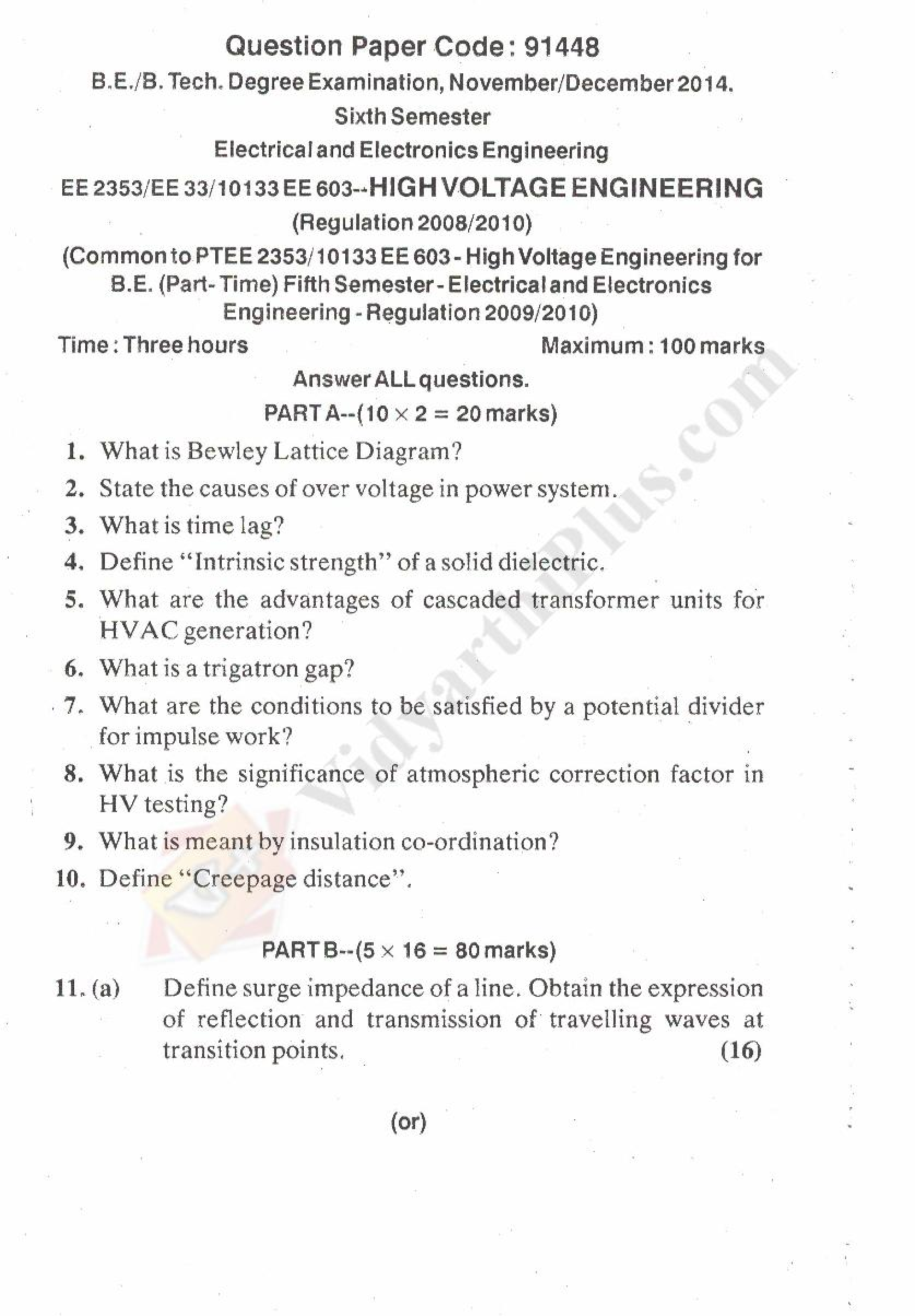 High Voltage Engineering Solved Question Papers - 2015 Edition