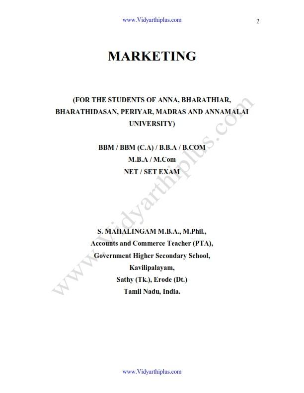 Marketing Management Book - Mahalingam Edition