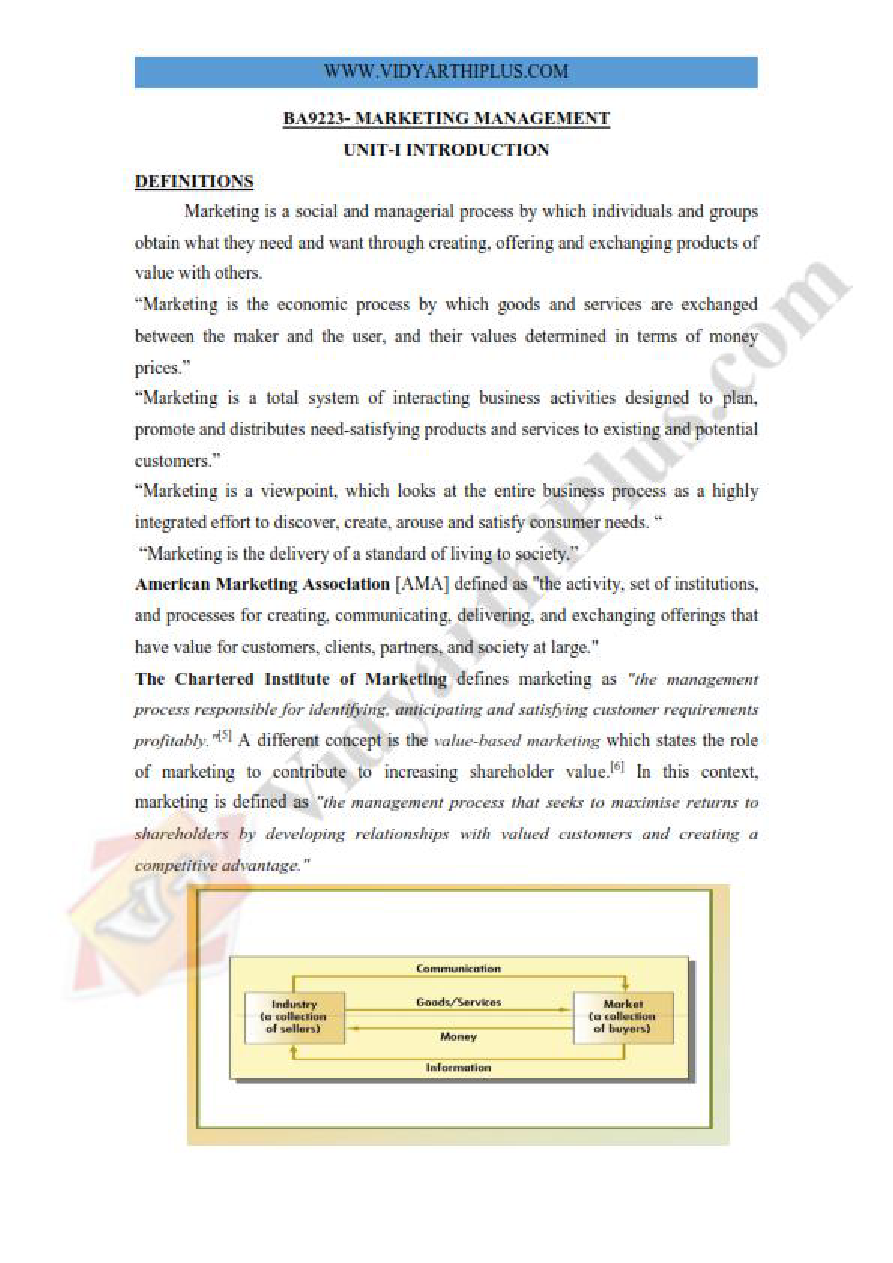 Marketing Management Premium Lecture Notes - Vidhaya Edition