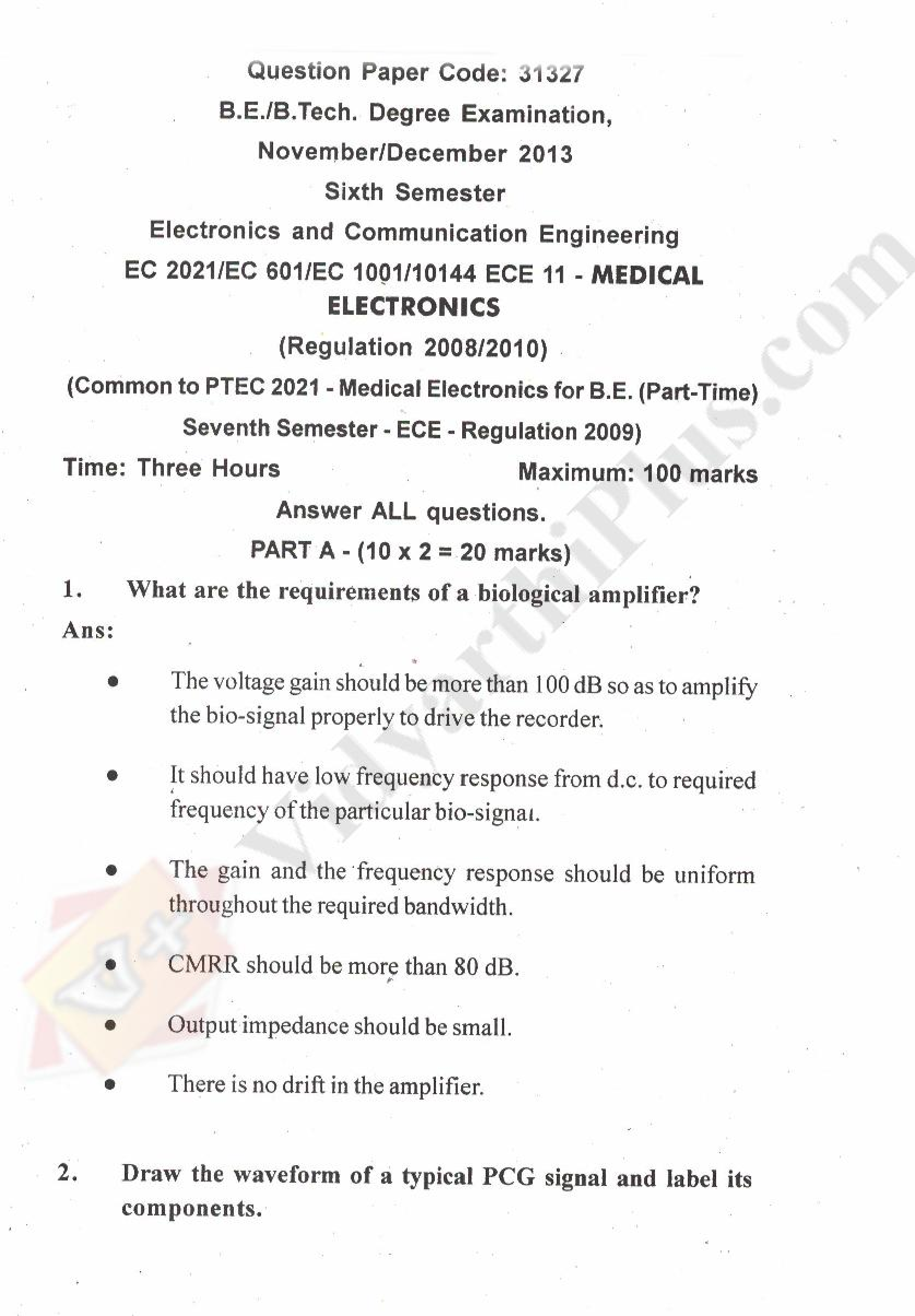 Medical Electronics Solved Question Papers - 2015 Edition