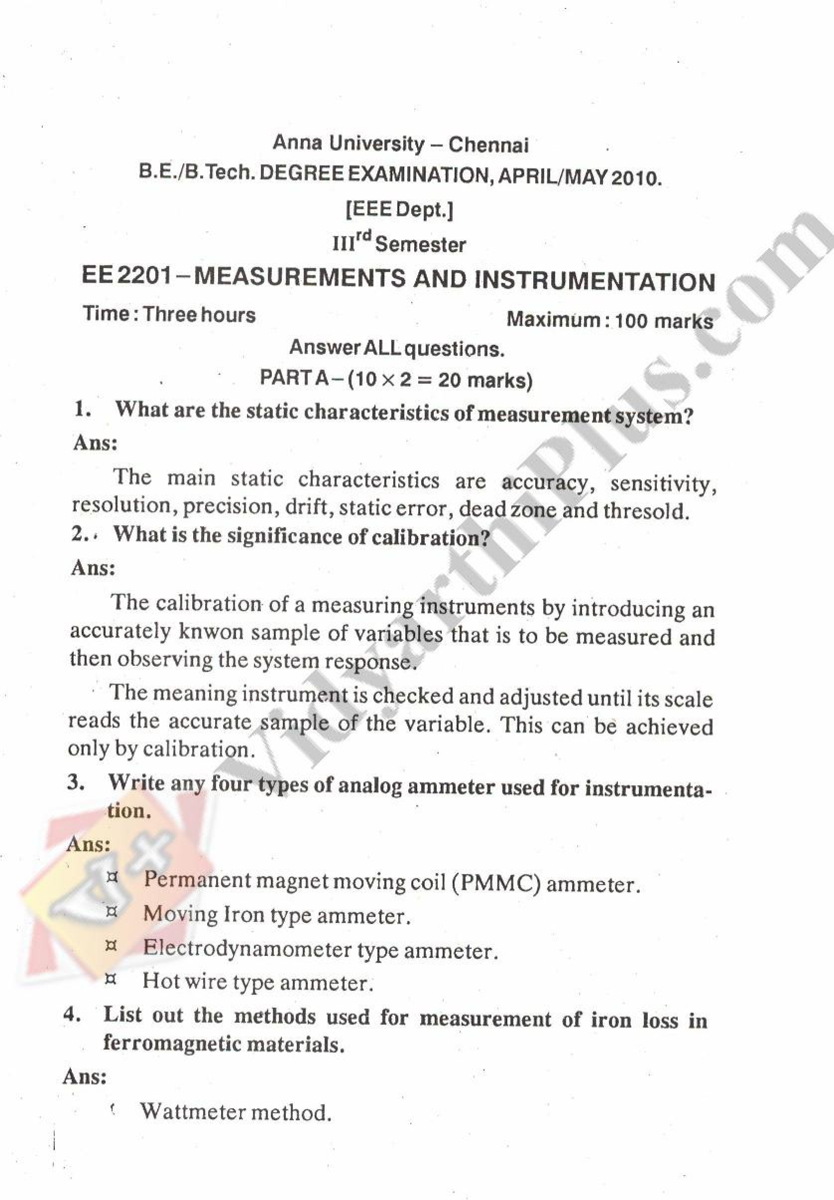 Measurement And Instrumentation Solved Question Paper - 2015 Edition