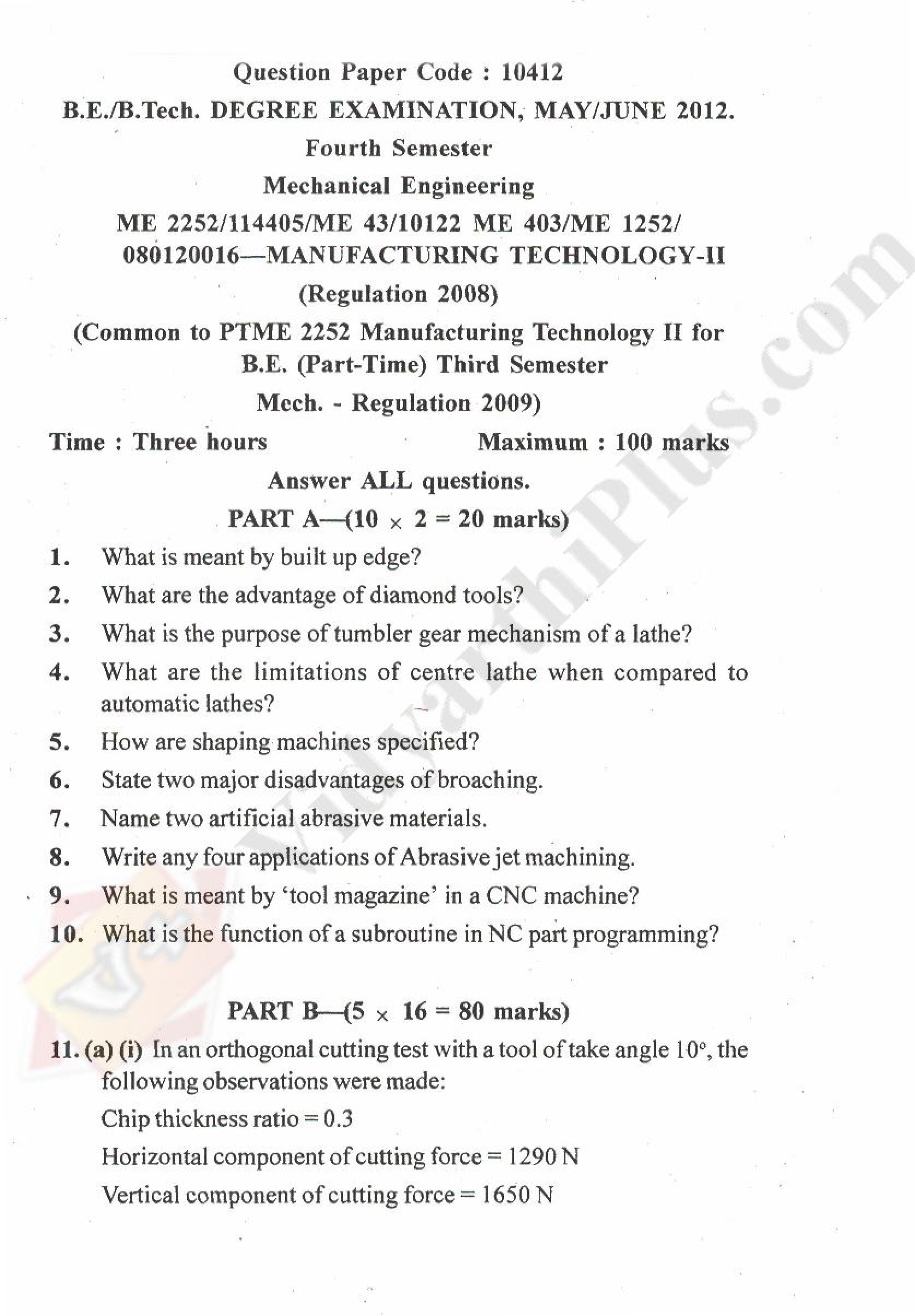 Manufacturing Technology - II Solved Question papers - 2015 Edition