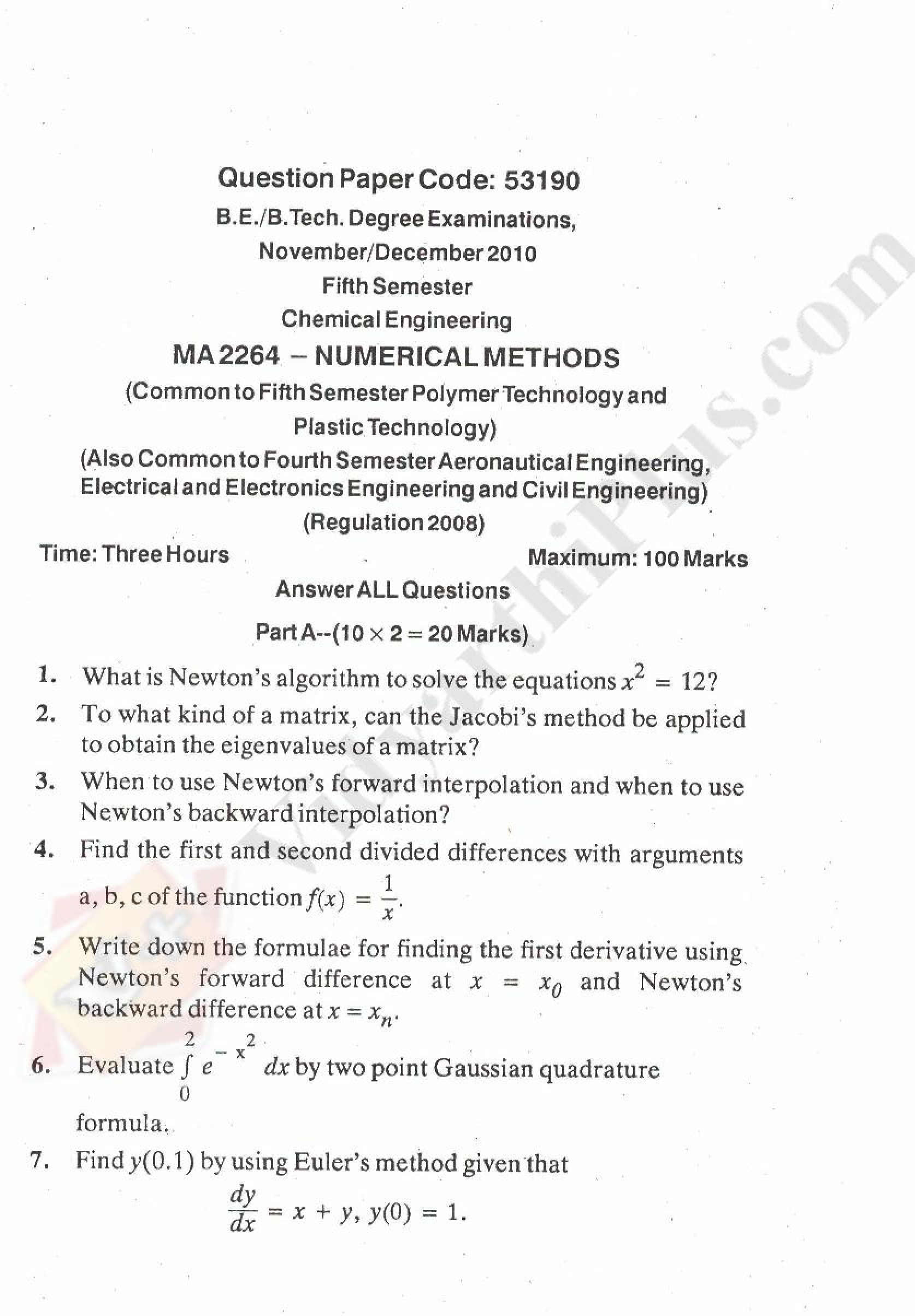 Numerical Methods Solved Question Papers - 2015 Edition