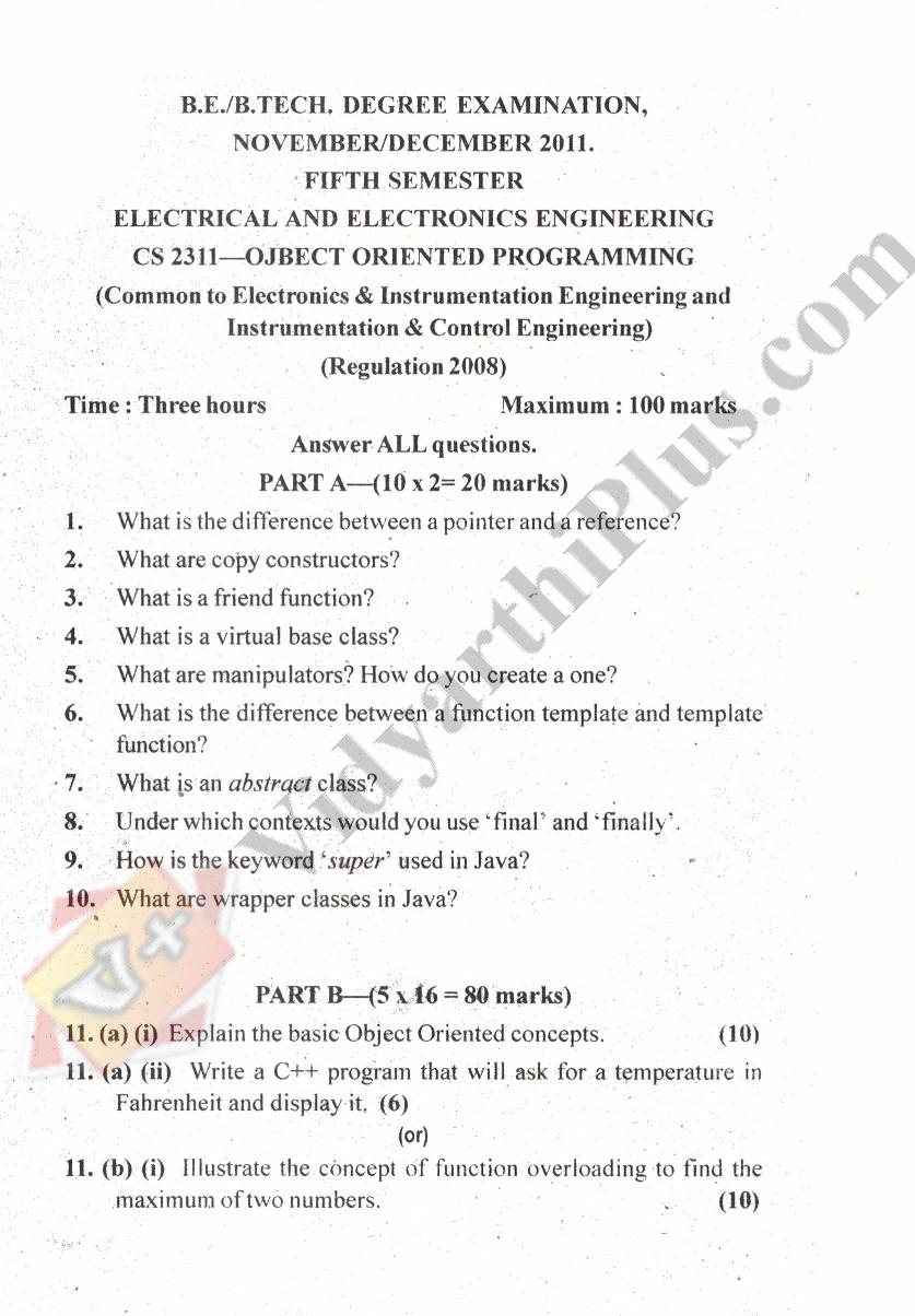 Object Oriented Programming Language Solved Question Paper - 2015 Edition