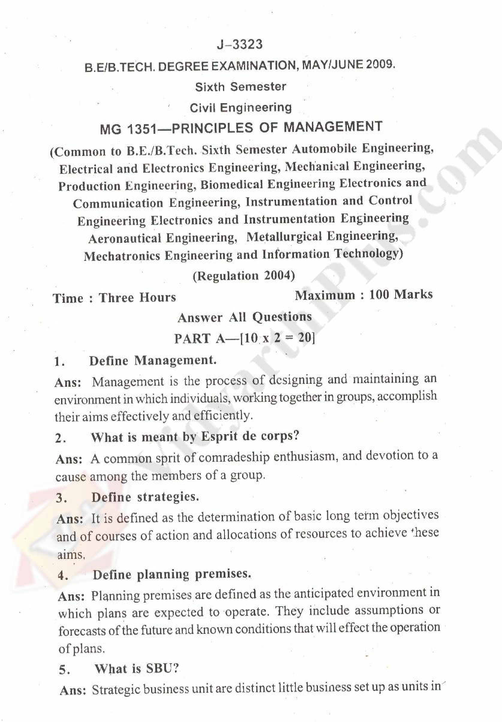 Principles Of Management Solved Question Papers - 2015 Edition