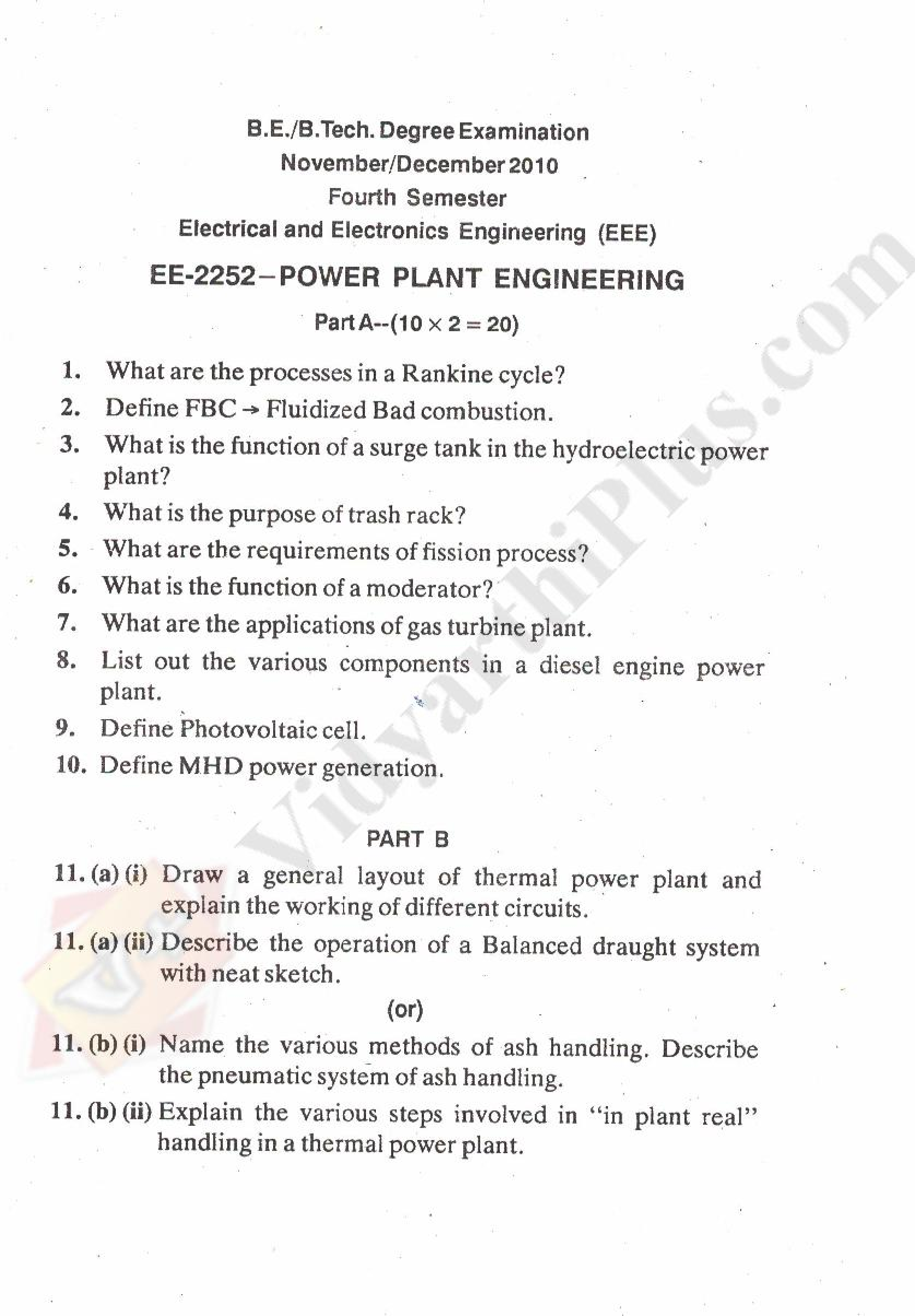 Power Plant Engineering Solved Question Papers - 2015 Edition