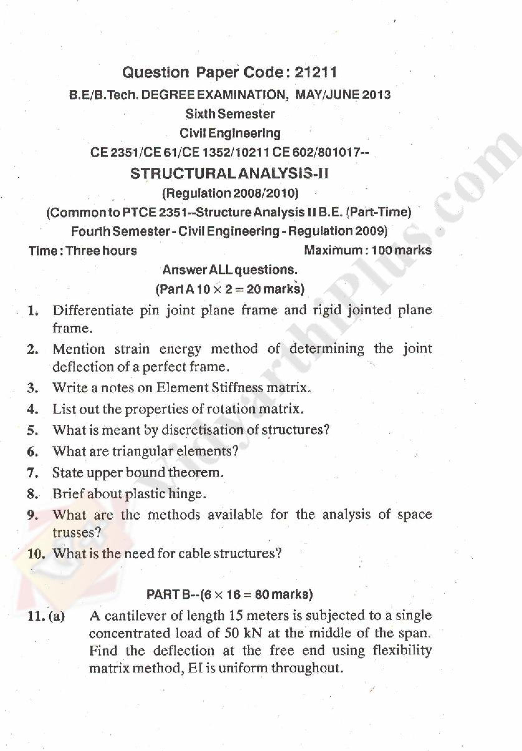Structural Analysis - II Solved Question Papers - 2015 Edition