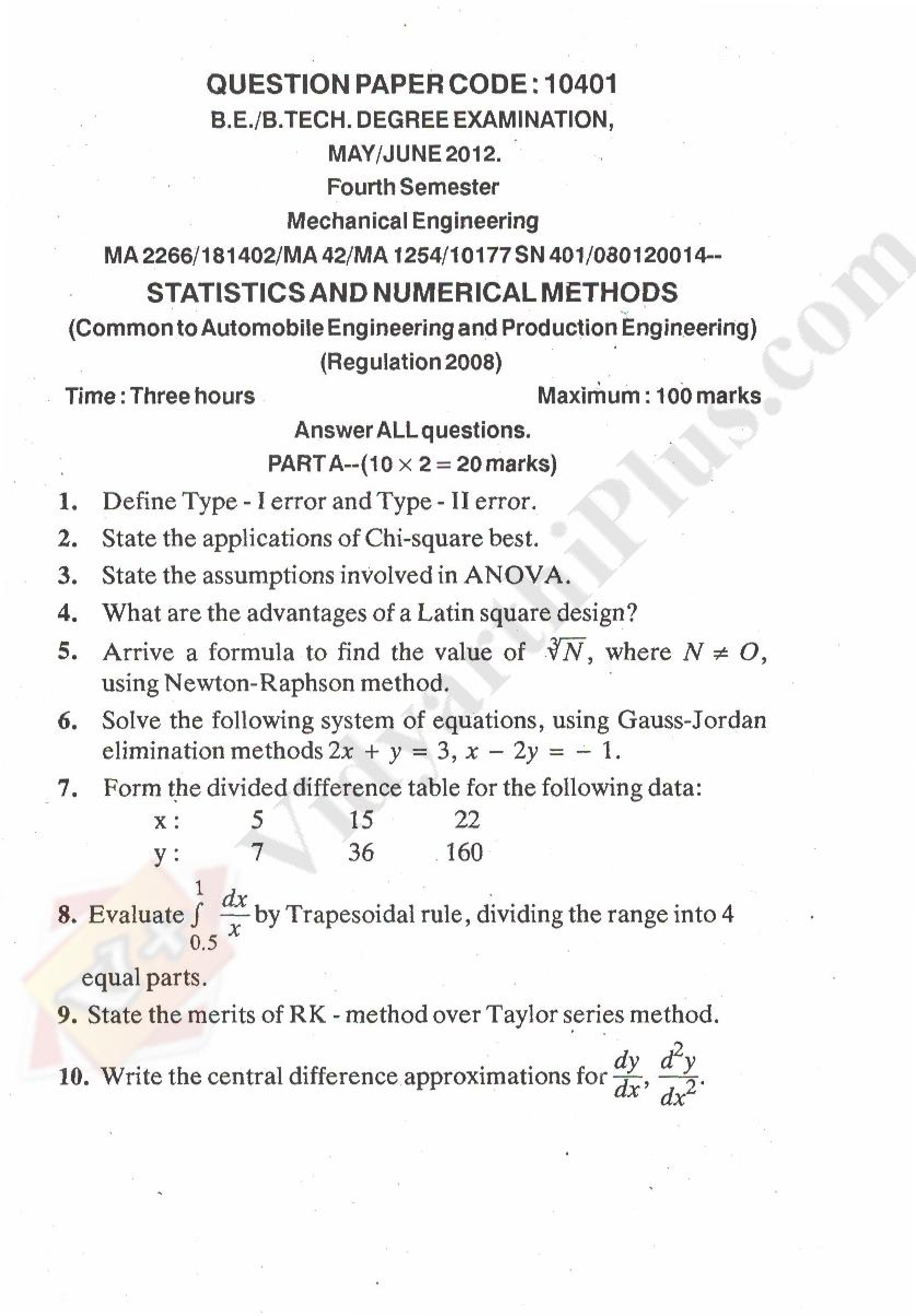 Statistics and Numerical Methods Solved Question Papers - 2015 Edition