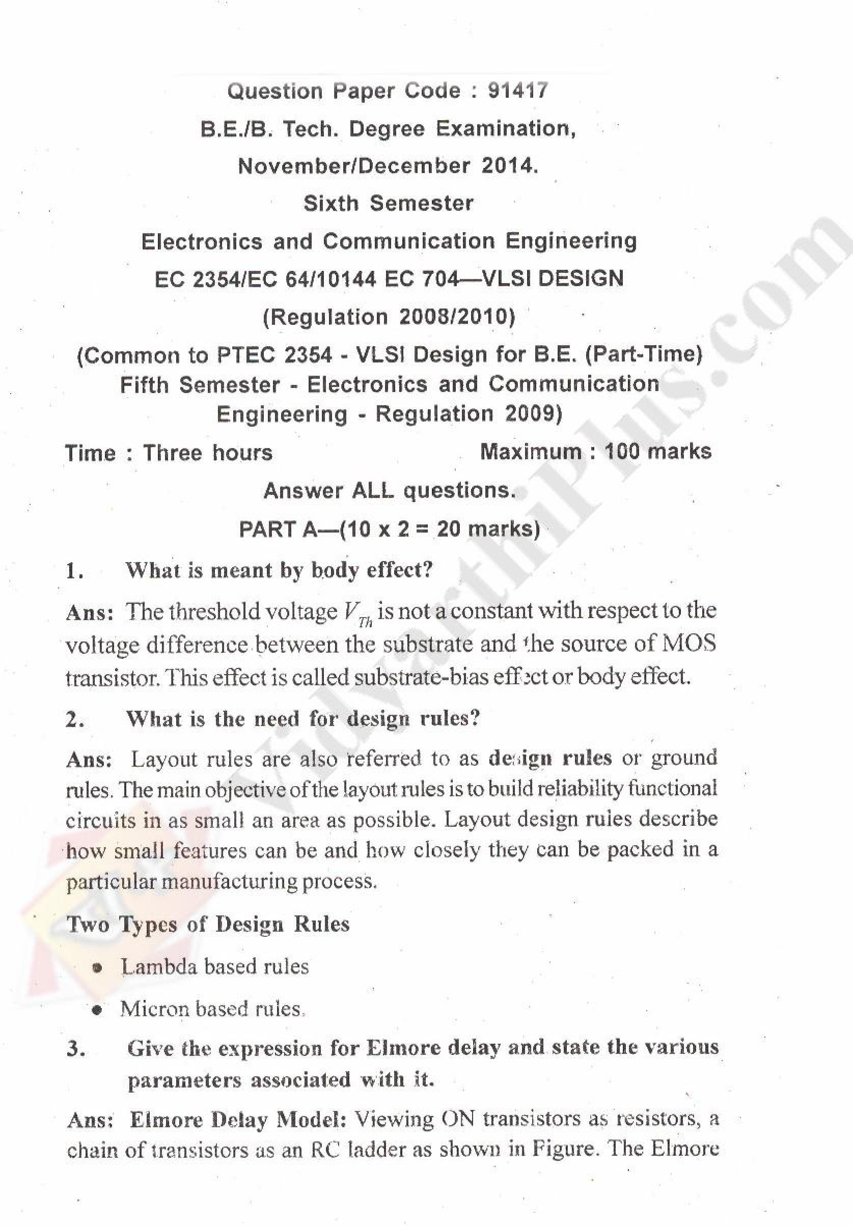 VLSI Design Solved Question papers - 2015 Edition