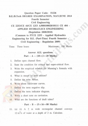 Applied Hydraulics Engineering Solved Question Papers - 2015 Edition