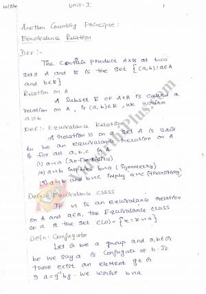 Algebra - I Premium Lecture Notes (All Units) - Anitha Edition