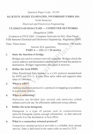 Computer Network Solved Question Papers - 2015 Edition