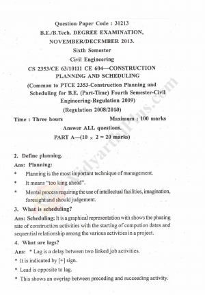 Construction Planning And Scheduling solved Question papers - 2015 Edition