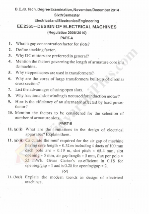 Design of Electrical Machines Solved Question Papers - 2015 Edition (Anna University)