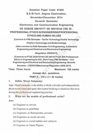 Professional Ethics in Engineering Solved Question Papers - 2015 Edition
