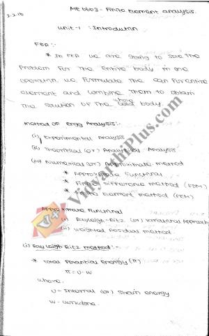 Finite Element Analysis Premium Lecture Notes - Vinoth Kumar Edition