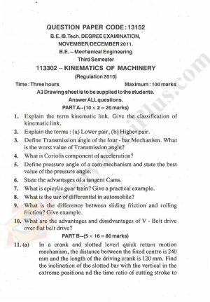 Kinematics Of Machinery Solved Question papers - 2015 Edition