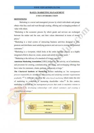 Marketing Management Premium Lecture Notes - Vidhaya Edition