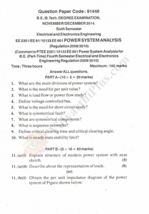 Power System Analysis Solved Question Papers - 2015 Edition (Anna University)