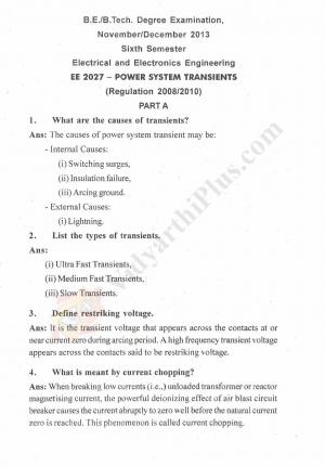 Power System Transients Solved Question Papers - 2014 Edition (Anna University)