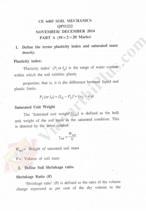Soil Mechanics Solved Question Papers - 2015 Edition