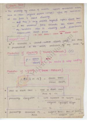 Strength Of Materials Premium Lecture Notes - Harish Edition