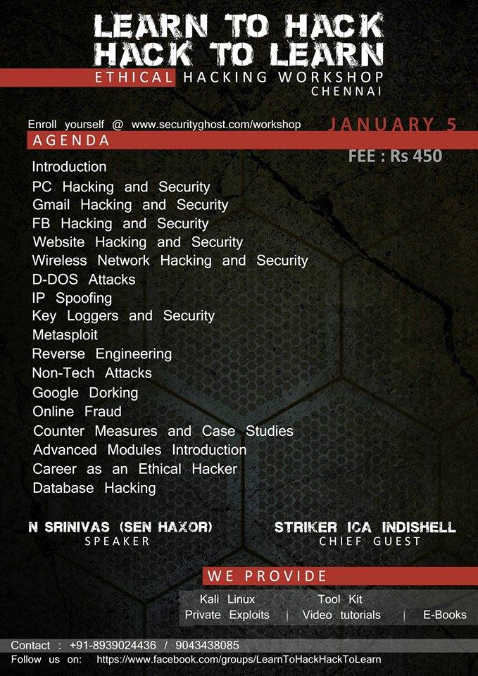 WORKSHOP ON ETHICAL HACKING AND CYBER FORENSICS
