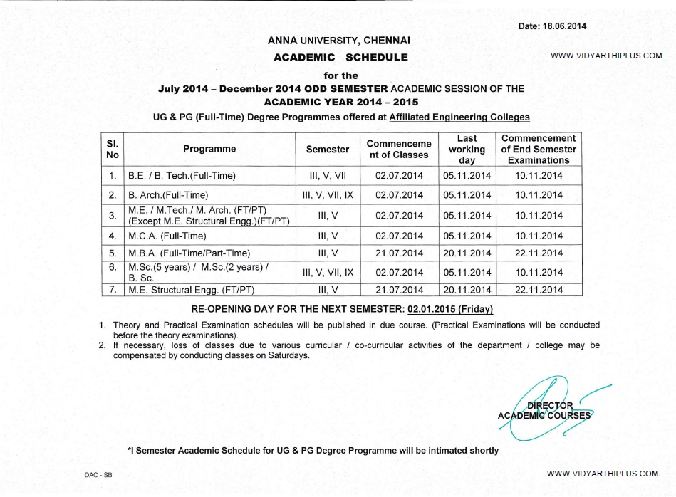 Au 3rd 5th 7th odd semester reopening date and academic for 5th sem time table 2014