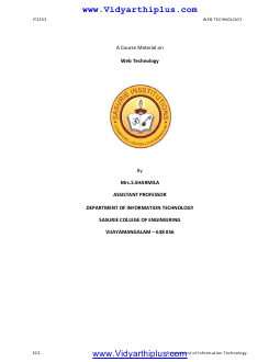IT2353 Web Technology Lecture Notes - SCE Edition