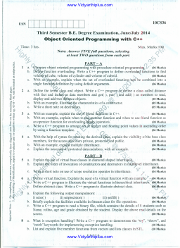 1OCS36 Object Oriented Programming with C++ June July 2014