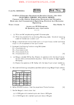 SWITCHING THEORY AND LOGIC DESIGN, JNTU 2011-2012 Question Paper