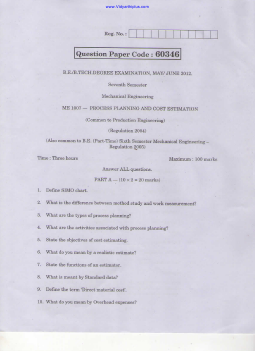ME2027 Process Planning and Cost Estimation Question Paper