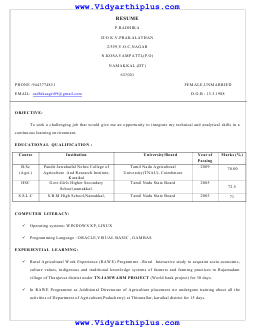 B Sc Agriculture Resume Format And Samples
