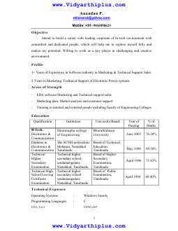 b tech electronics and communication engineering ece resume format