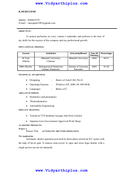 b tech mechanical engineering resume format and samples