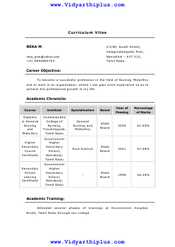 Diploma In General Nursing And Midwifery Resume Format And Sample
