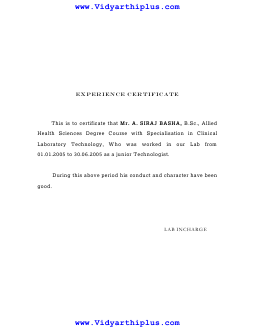 experience certificate format and sample