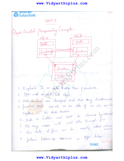 CS2311 Object Oriented Programming Hand Written Lecture Notes