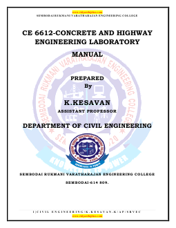 Lab Manual Highway Engineering